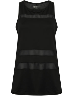 Meliza Sheer Panel Racer Back Sports Vest Top in Black – Tokyo Laundry Active