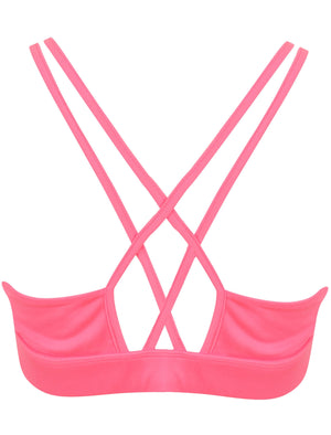 Sarki Crossover Back Sports Bra Top in Neon Pink – Tokyo Laundry Active