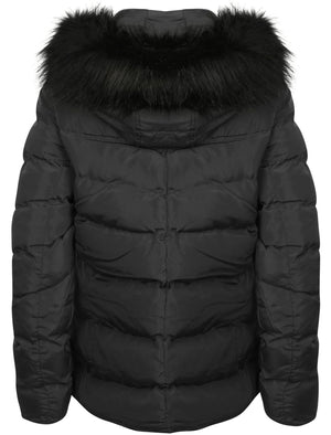 Adley Quilted Jacket with Detachable Fur Trim in Black – Tokyo Laundry
