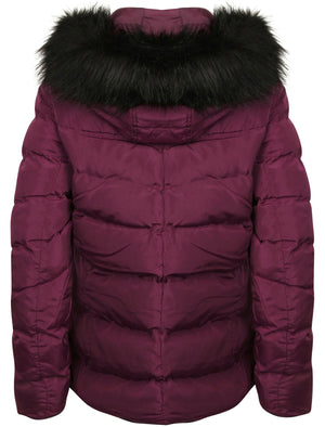 Adley Quilted Jacket with Detachable Fur Trim in Plum – Tokyo Laundry
