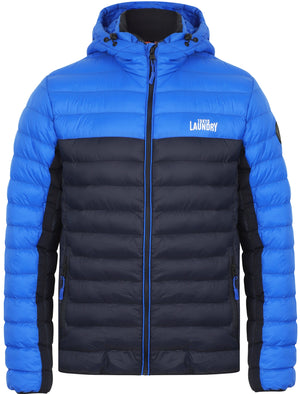 Aksel Colour Block Quilted Puffer Jacket with Hood In True Navy - Tokyo Laundry