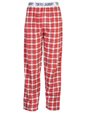 Men's brushed flannel checked red lounge bottoms - Tokyo Laundry