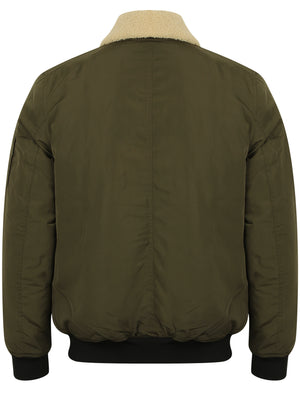 Allingham Bomber Jacket with Detachable Borg Collar in Amazon Khaki - Tokyo Laundry
