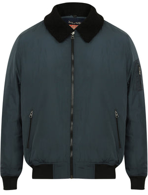 Allingham Bomber Jacket with Detachable Borg Collar in Petrol - Tokyo Laundry