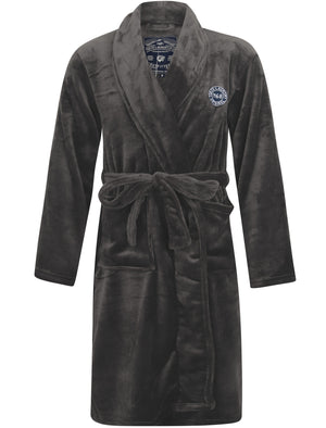 Alps Soft Fleece Dressing Gown with Tie Belt in Dark Grey – Tokyo Laundry