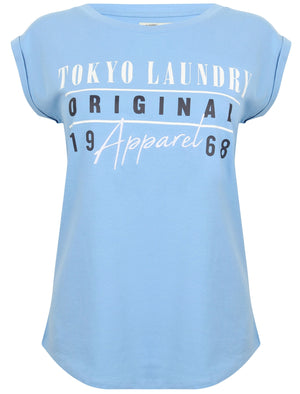 Amiee Cotton Jersey T-Shirt with Turn Up Sleeves In Allure Blue - Tokyo Laundry