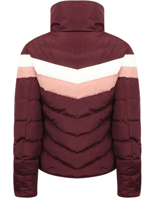 Anise Quilted Puffer Jacket with Chevron Panel In Burgundy – Tokyo Laundry