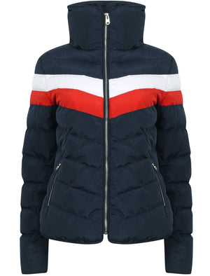 Anise Quilted Puffer Jacket with Chevron Panel In Navy Blazer / White & Red – Tokyo Laundry