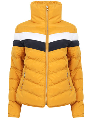 Anise Quilted Puffer Jacket with Chevron Panel In Old Gold – Tokyo Laundry