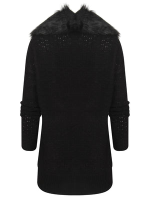 Arkwright Detachable Fur Collar Cardigan in Black - Tokyo Laundry