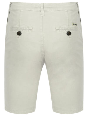 Mens Drawstring Cotton Shorts in Ivory Grey - Tokyo Laundry