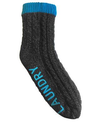 Aurors Sherpa Lined Chunky Knitted Slipper Socks in Bright Blue – Tokyo Laundry
