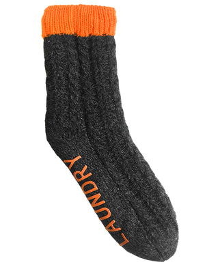 Aurors Sherpa Lined Chunky Knitted Slipper Socks in Orange – Tokyo Laundry