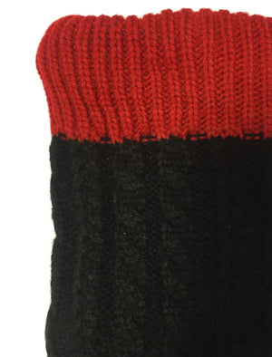 Aurors Sherpa Lined Chunky Knitted Slipper Socks in Red – Tokyo Laundry
