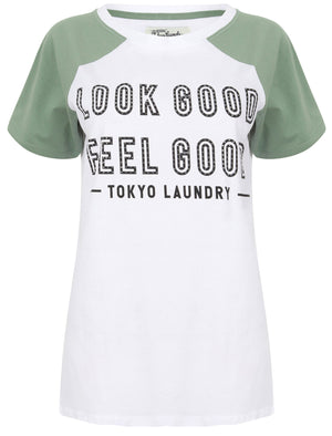 Ava Contrast Raglan Sleeve Cotton T-Shirt In Oil Green - Tokyo Laundry