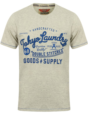 Bailey Springs Motif Cotton T-Shirt in Oatgrey Marl - Tokyo Laundry