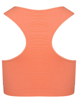 Baretta Zebra Stripe Panel Sports Bra Top in Fusion Coral – Tokyo Laundry Active