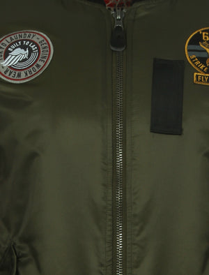 Basnett Bomber Jacket with Patches In Amazon Khaki - Tokyo Laundry