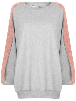 Belleflower Faux Fur Panel Sleeve Sweatshirt in Light Grey Marl – Amara Reya