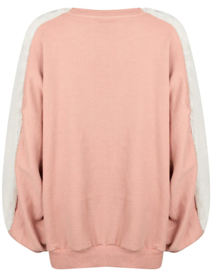 Belleflower Faux Fur Panel Sleeve Sweatshirt in Pale Mauve Marl  – Amara Reya