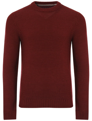 Men's textured wool blend oxblood jumper