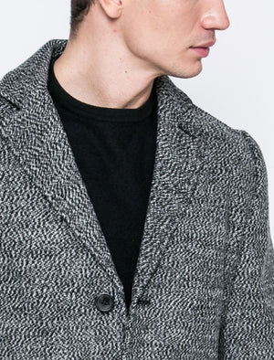 Bermondsey Tailored Wool Blend Overcoat in Grey / White – Tokyo Laundry