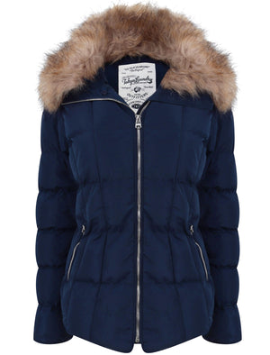 Bertie Funnel Neck Quilted Puffer Jacket With Detachable Fur Trim In Peacoat Blue – Tokyo Laundry