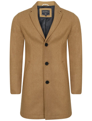 Bezout Button Up Wool Blend Overcoat in Camel - Tokyo Laundry