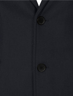 Bezout Button Up Wool Blend Overcoat in Navy - Tokyo Laundry