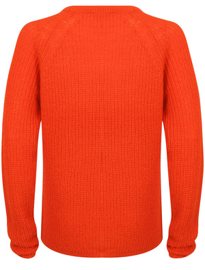 Bilberry Crew Neck Fisherman Knit Jumper In Fiery Red – Tokyo Laundry