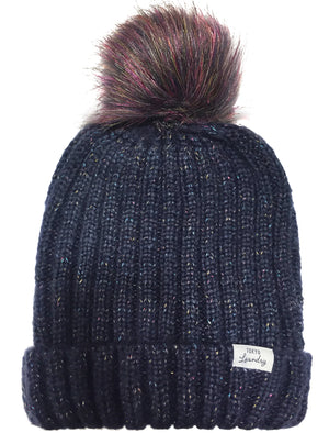 Women's Boe Metallic Cable Knit Bobble Hat in Blue – Tokyo Laundry