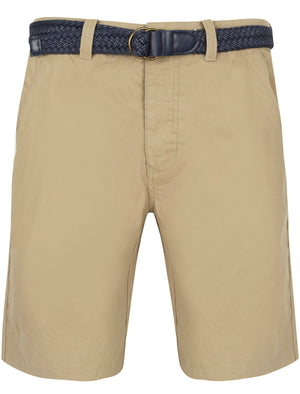 Brad Cotton Chino Shorts with Woven Belt in Chinchilla Stone – Tokyo Laundry