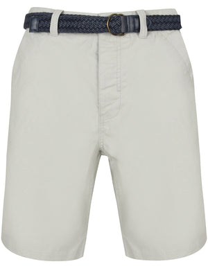 Brad Cotton Chino Shorts with Woven Belt in Mirage Grey – Tokyo Laundry