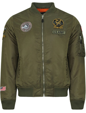 Cadence Bomber Jacket With Patches In Amazon Khaki - Tokyo Laundry