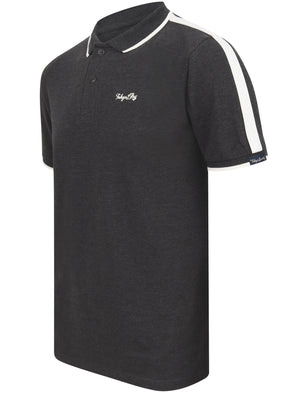 Cafe Racer Polo Shirt In Charcoal Marl - Tokyo Laundry