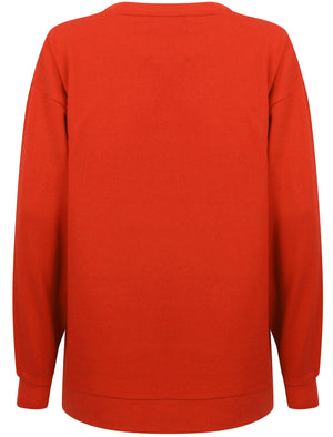 Calais Sweatshirt with Woven Tape Detail Sleeves in Ski Patrol Red – Amara Reya
