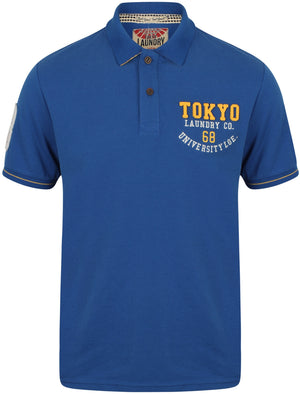 Calgary Point Applique Cotton Polo Shirt In Ocean - Tokyo Laundry