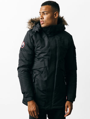 Cameron Parka Coat with Fur Trim Hood in Black – Tokyo Laundry
