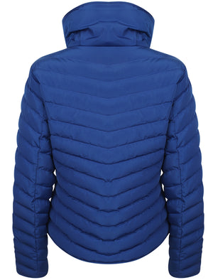 Cardamon Funnel Neck Chevron Quilted Jacket in Mazarine Blue – Tokyo Laundry