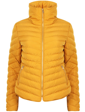 Cardamon Funnel Neck Chevron Quilted Jacket in Old Gold – Tokyo Laundry
