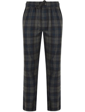 Chamois Brushed Flannel Checked Lounge Pants in Estate Blue - Tokyo Laundry
