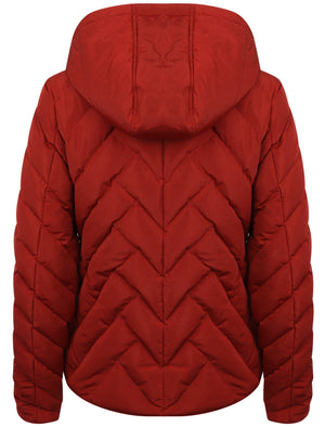 Chateau Zig Zag Quilted Hooded Puffer Jacket in Merlot – Tokyo Laundry