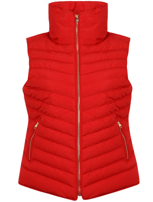 Chervil Padded Gilet With Funnel Neck In Crimson – Tokyo Laundry