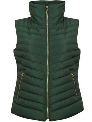 Chervil Padded Gilet With Funnel Neck In Dark Green - Tokyo Laundry
