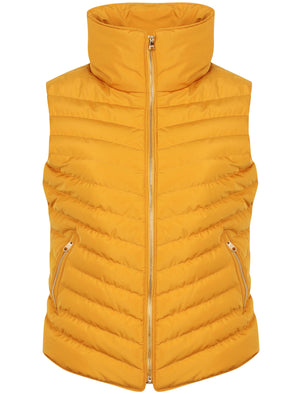 Chervil Padded Gilet With Funnel Neck In Old Gold - Tokyo Laundry