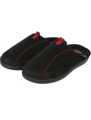 Clay Fleece Lined Mule Slippers with Stitch Detail in Black – Tokyo Laundry