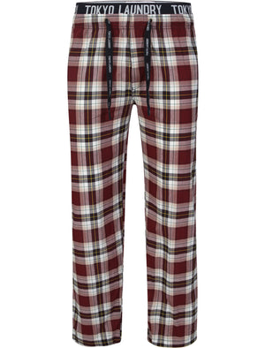 Clissold Checked Lounge Pants in Oxblood / Yellow - Tokyo Laundry