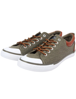 Conspiracy Low Top Lace Up Canvas Trainers in Martini Olive – Tokyo Laundry
