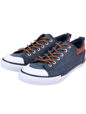 Conspiracy Low Top Lace Up Canvas Trainers in Sargasso Blue – Tokyo Laundry