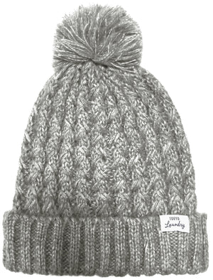 Women's Coops Beanie Cable Knit Bobble Hat in Light Grey Marl – Tokyo Laundry